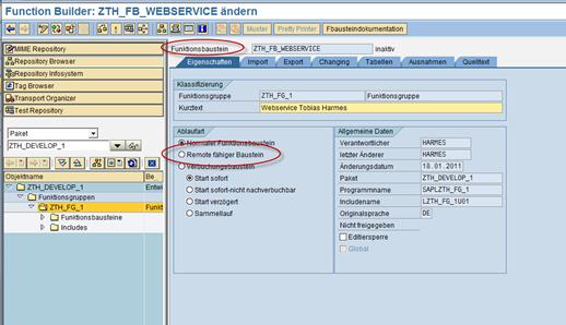 ABAP Webservice: RFC-fähigen Funktionsbaustein anlegen
