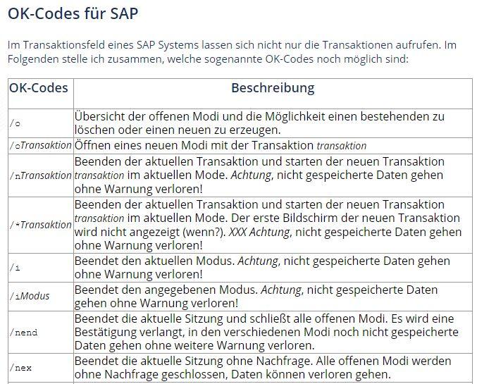 ok-codes für sap