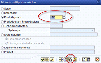 SAP SMSY Produktsystem auswählen