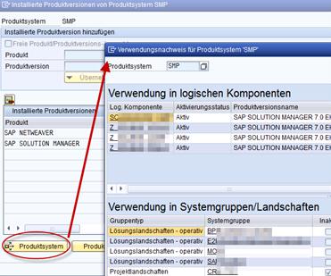 SAP SMSY Verwendungsnachweis für Produktsysteme