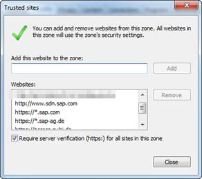 Internet Explorer Trusted Sites / Vertrauenswürde Seiten