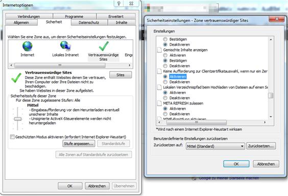 Internet Explorer Sicherheitseinstellungen Vertrauenswürdige Sites