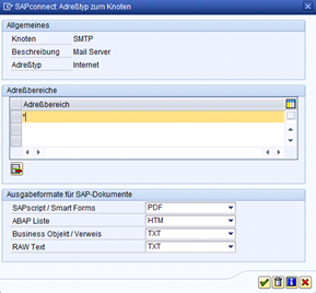 SAP Transaktion SCOT - SAPConnect Adresstyp