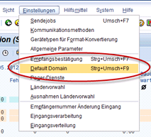 SAP Transaktion SCOT - Default Domain