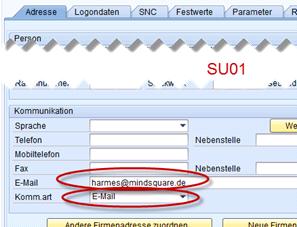 SAP Email Pflege in der SU01