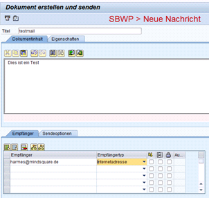 SAP Testmail über SBWP