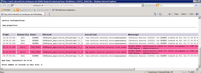 Web-Diagnose-Tool: Trace Ergebnis
