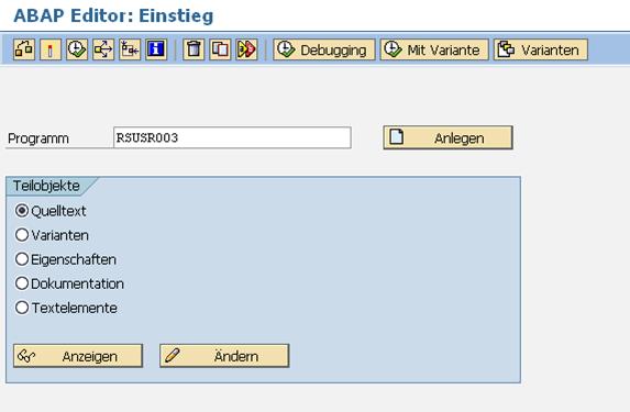 Initialkennwort Prüfung: Ausführen von RSUSR003