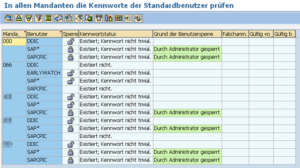 Initialkennwort Prüfung: Ausführen von RSUSR003 Ergebnis