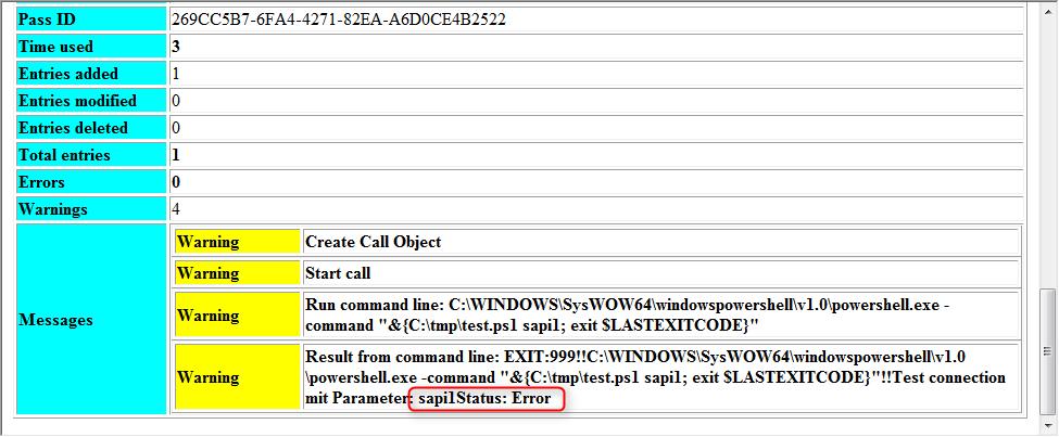 SAP IDM Joblog: Status: Error