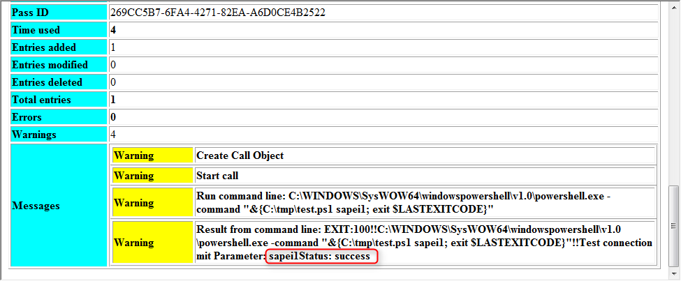SAP IDM Joblog: Status: Success