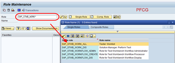 SAP Transaktion PFCG - Auswahl der Standardrollen