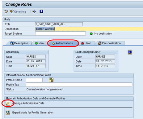 SAP PFCG Rolle im Änderungsmodus - das Berechtigungsprofil ist nicht generiert