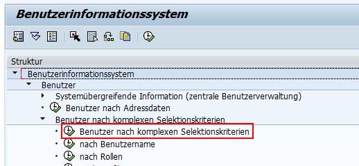 """Bericht """"Benutzer nach komplexen Selektionskriterien"""""""