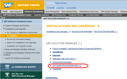 Solution Manager 7.1 Download - Verweis auf den SPM