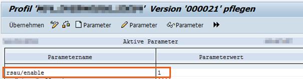 Anzeige der geänderten Profilparameter