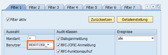 Einrichtung der Filterkriterien mit Wildcards
