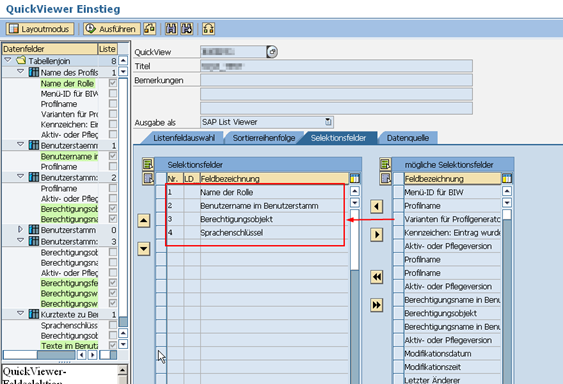 Berechtigungsquery in SAP Transaktion SQVI: Selektionsfelder