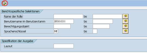 Berechtigungsquery in SAP Transaktion SQVI: Selektionsbildschirm