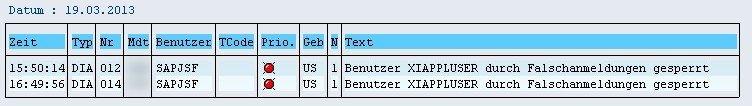 SAP SM21 Systemlog - Benutzer XIAPPLUSER gesperrt