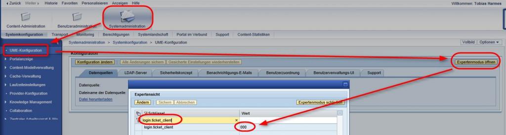 Parameter login.ticket_client bearbeiten, damit SSO logon data übereinstimmen