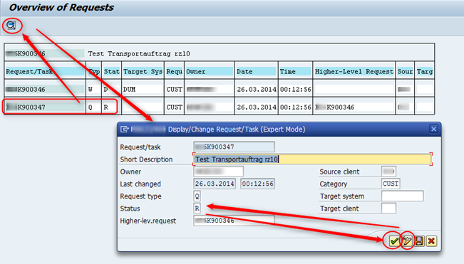 SAP Transportstatus