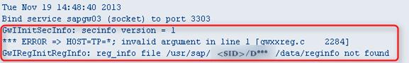 *** ERROR => HOST=TP=*; invalid argument in line 1 reg_info file not found