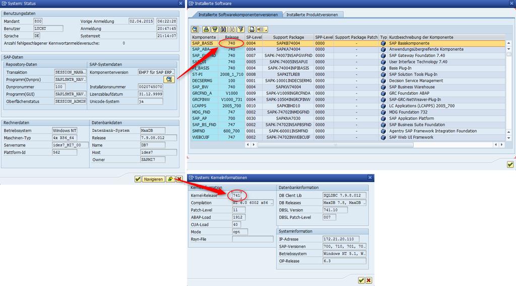 SAP NetWeaver Version und Kernelversion