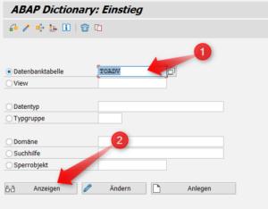 SE11 - Eingabe einer SAP Tabelle