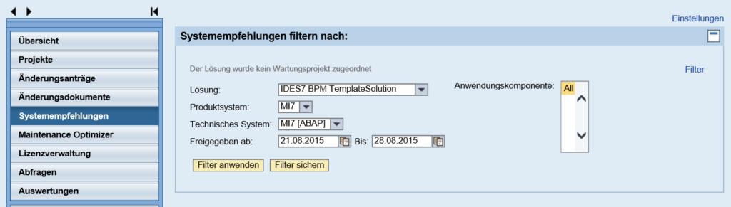 Filtermöglichkeiten in den Systemempfehlungen