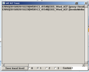 Screenshot SAP ACF Trace