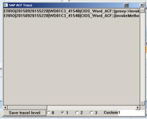 Screenshot SAP ACF Trace