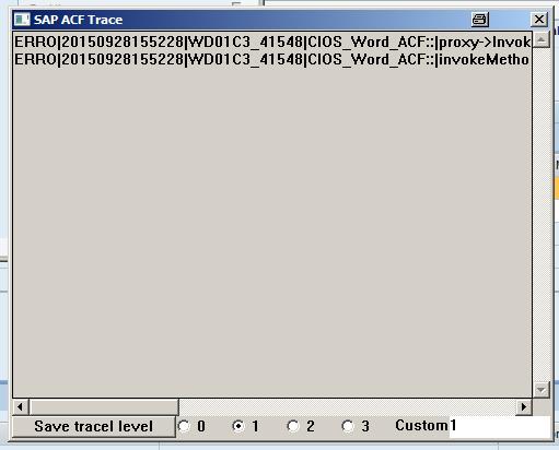 Screensjot SAP ACF Trace