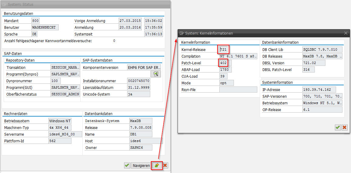 SAP Kernel Version GUI