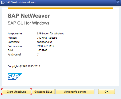 SAP Versionsinformationen