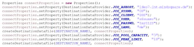 Properties für die Zugangsdaten zum SAP System