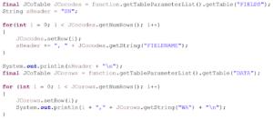 Codebeispiel, Ausgabe des Rückgabewertes der RFC_READ_TABLE Funktion