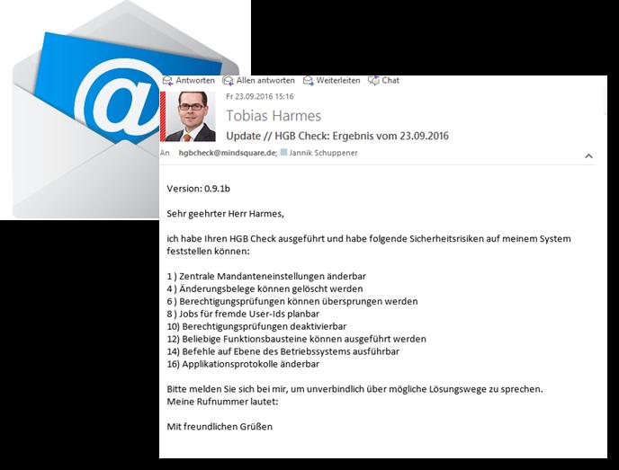 SAP Sicherheitsprüfung - Beispiel für Email aus dem HGB Check