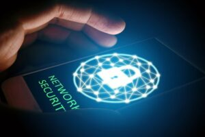 Cyber security network concept, Man protect network in smartphone.