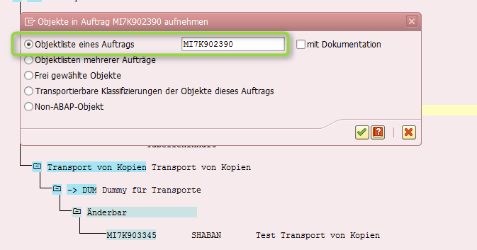 Transporte von Kopien - Objektliste