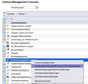 Anwendungen --> Central Management Console --> Rechtsklick