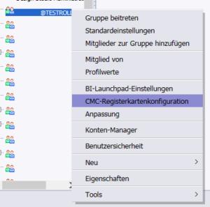 Rechtsklick auf die gewünschte Gruppe --> CMC-Registerkartenkonfiguration