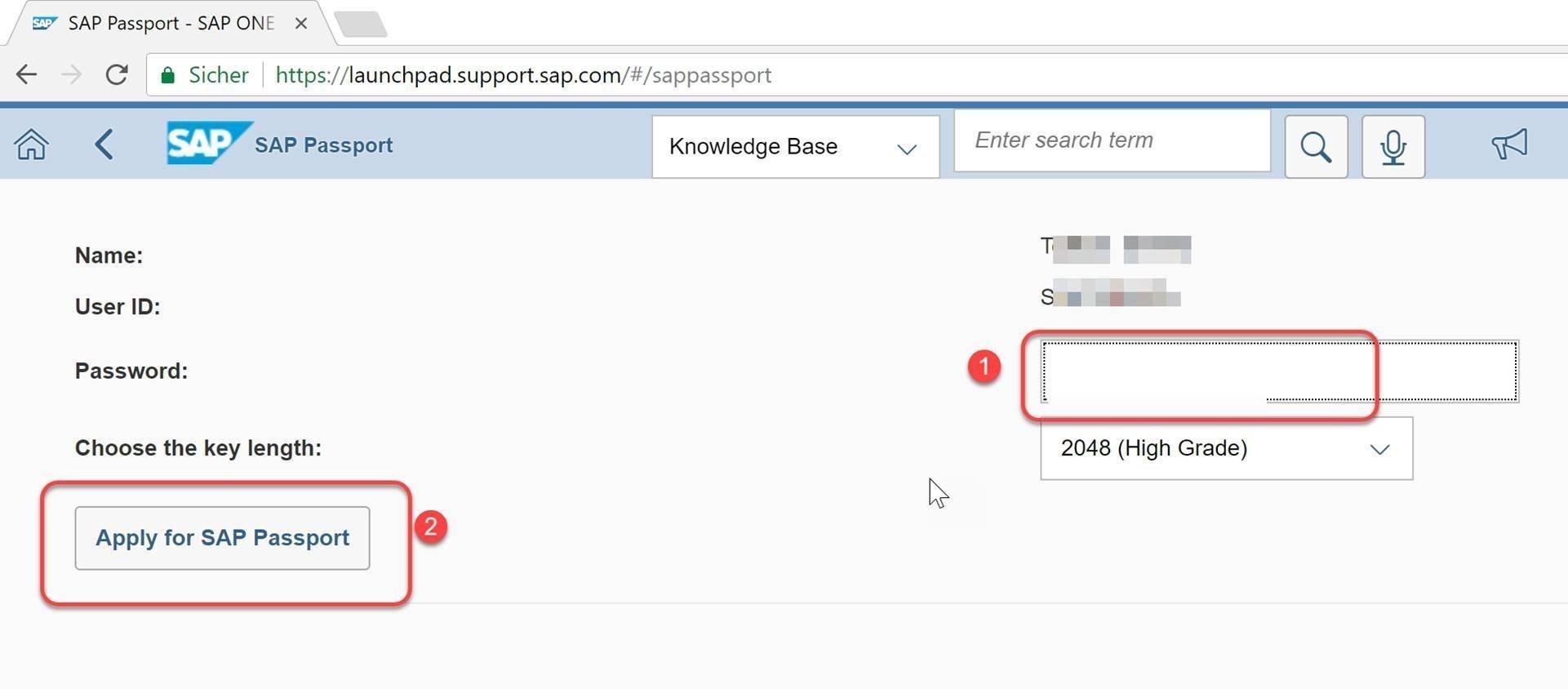 Client-Zertifikat: SAP Passport Zertifikat