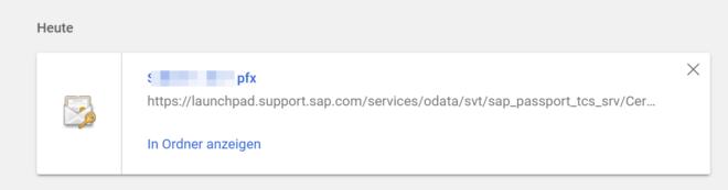 Client-Zertifikat: Zertifikat herunterladen