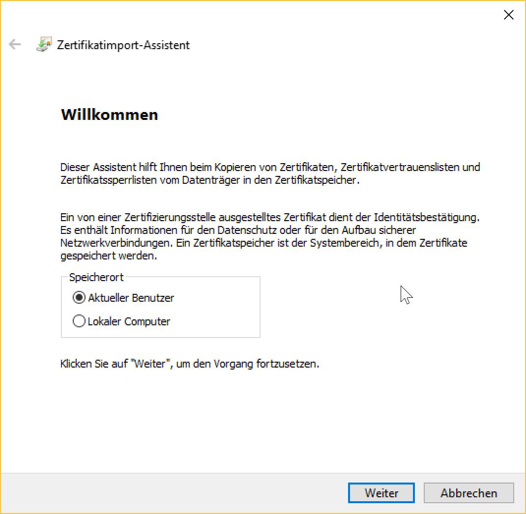 Client-Zertifikat: Zertifikatspeicher