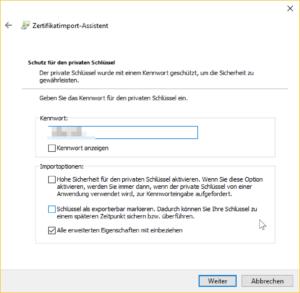 Client-Zertifikat: Kennwort