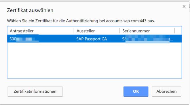 Client-Zertifikat: Zertifikat auswählen