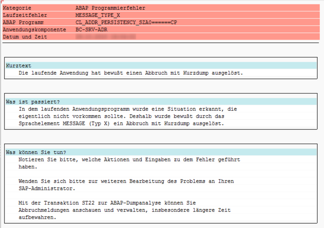 Dump-Screenshot von MESSAGE_TYPE_X