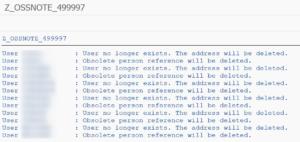 Die Ausgabe des Reports Z_OSSNOTE_499997 zeigt alle bereinigten User.