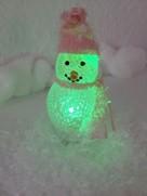 Der USB-Schneemann. Leuchtet schön. Hat USB. Meine Frau hat mir extra für das Foto etwas Kunstschnee gegeben. :)